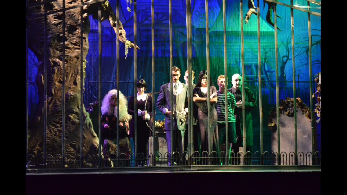 broadway bounds addams family at summerlin library performing addams family lighting set